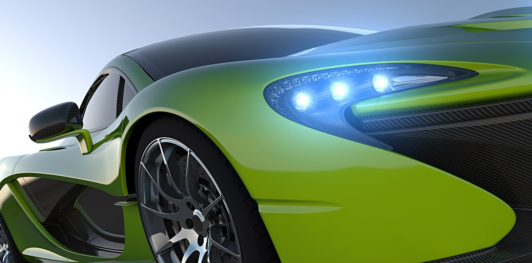 green sportcar closeup
